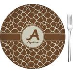 Giraffe Print Glass Appetizer / Dessert Plates 8
