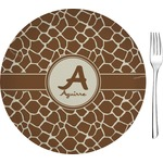 "Giraffe Print Glass Appetizer / Dessert Plates 8"" - Single or Set (Personalized)"