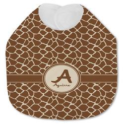 Giraffe Print Jersey Knit Baby Bib w/ Name and Initial