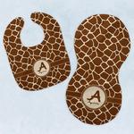 Giraffe Print Baby Bib & Burp Set w/ Name and Initial