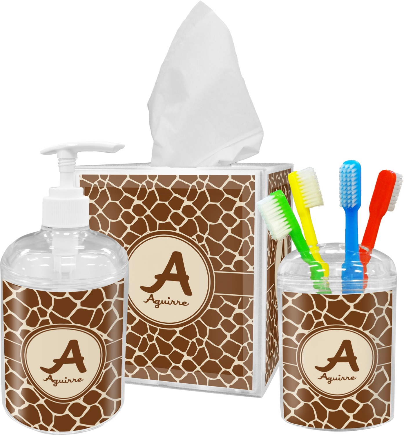 Giraffe Print Bathroom Accessories Set (Personalized)