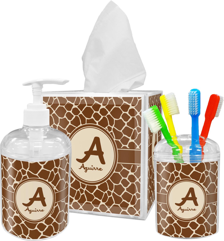 Giraffe Print Bathroom Accessories Set