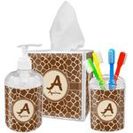 Giraffe Print Acrylic Bathroom Accessories Set w/ Name and Initial