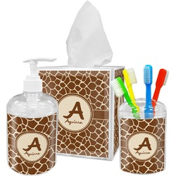 Giraffe Print Acrylic Bathroom Accessories Set w/ Name and Initial
