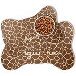 Giraffe Print Bone Shaped Dog Food Mat (Personalized)