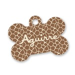 Giraffe Print Bone Shaped Dog Tag (Personalized)