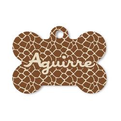 Giraffe Print Bone Shaped Dog Tag (Personalized)