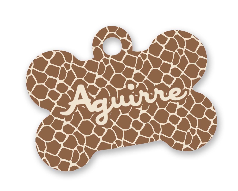 Giraffe Print Bone Shaped Dog Tag Personalized