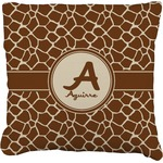 Giraffe Print Faux-Linen Throw Pillow (Personalized)