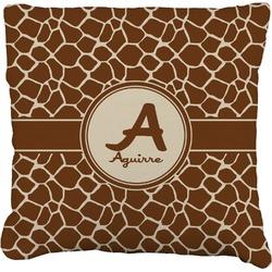 Giraffe Print Faux-Linen Throw Pillow (Personalized)