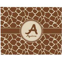Giraffe Print Woven Fabric Placemat - Twill w/ Name and Initial