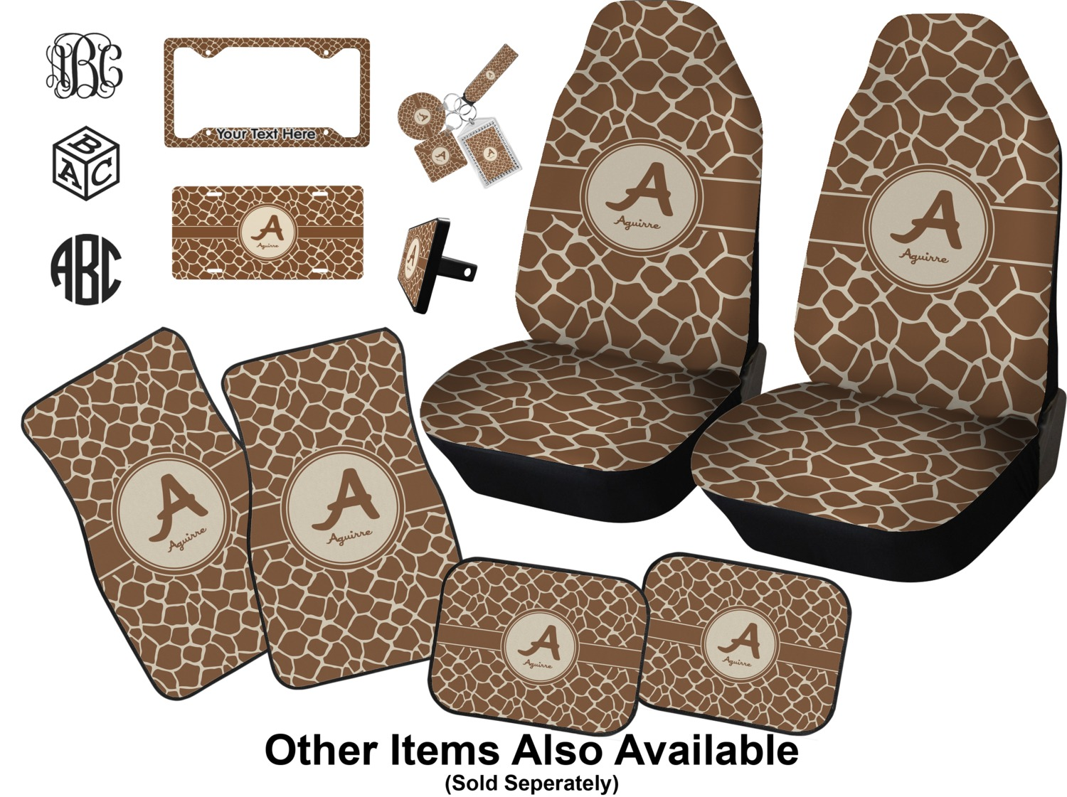 Giraffe Print Car Seat Covers (Set of Two) (Personalized ...
