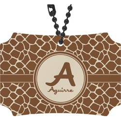 Giraffe Print Rear View Mirror Ornament (Personalized)