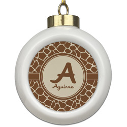 Giraffe Print Ceramic Ball Ornament (Personalized)