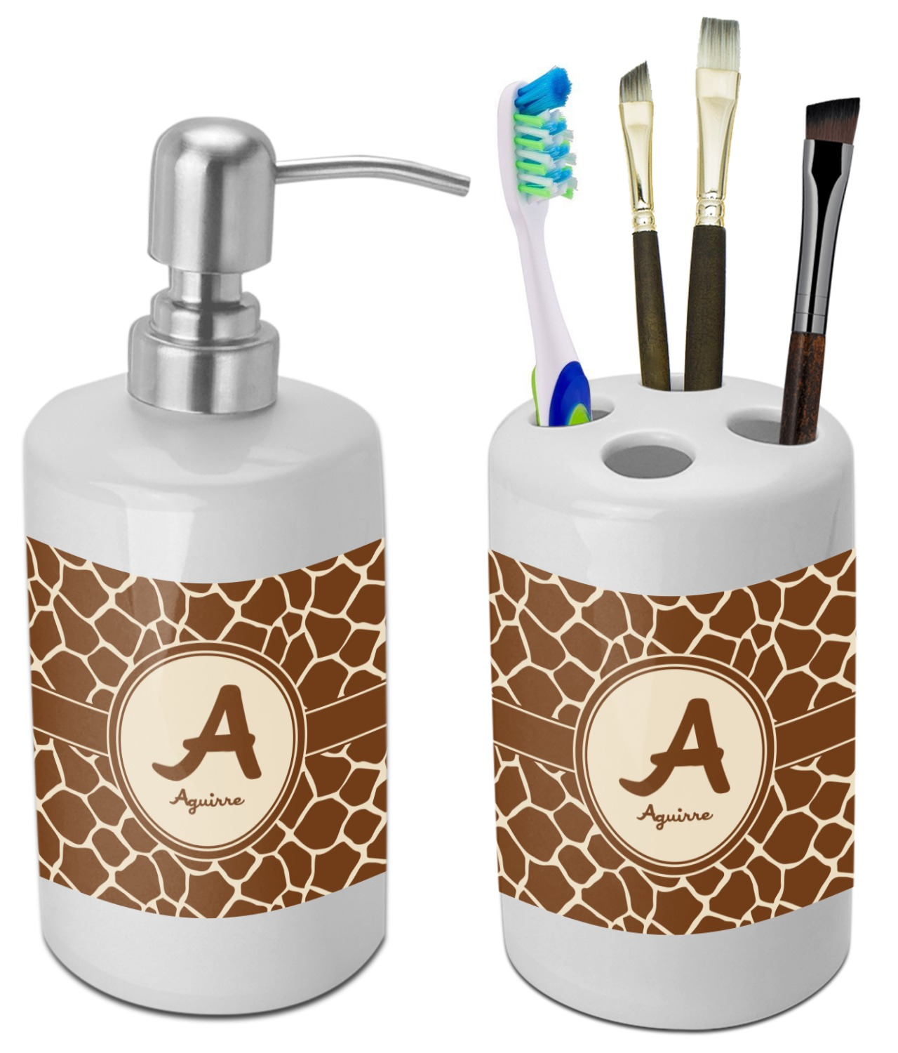 Great Giraffe Print Bathroom Accessories Set (Ceramic) (Personalized)