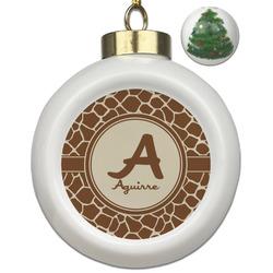 Giraffe Print Ceramic Ball Ornament - Christmas Tree (Personalized)