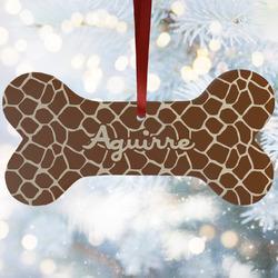 Giraffe Print Ceramic Dog Ornaments w/ Name and Initial