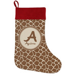 Giraffe Print Holiday Stocking w/ Name and Initial