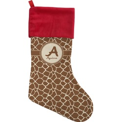 Giraffe Print Christmas Stocking - Single-Sided (Personalized)