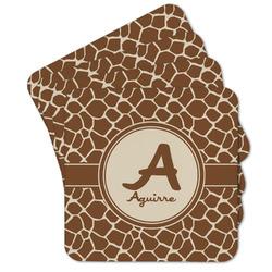 Giraffe Print Cork Coaster - Set of 4 w/ Name and Initial