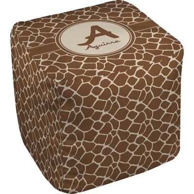 Giraffe Print Cube Pouf Ottoman (Personalized)