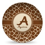 Giraffe Print Microwave Safe Plastic Plate - Composite Polymer (Personalized)