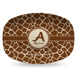 Giraffe Print Plastic Platter - Microwave & Oven Safe Composite Polymer (Personalized)