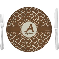 """Giraffe Print Glass Lunch / Dinner Plates 10"""" - Single or Set (Personalized)"""