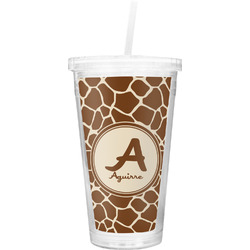 Giraffe Print Double Wall Tumbler with Straw (Personalized)