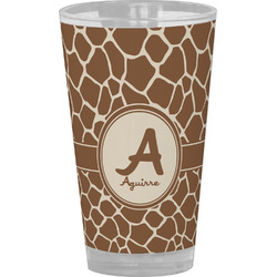 Giraffe Print Drinking / Pint Glass (Personalized)