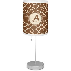 """Giraffe Print 7"""" Drum Lamp with Shade Linen (Personalized)"""