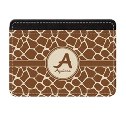 Giraffe Print Genuine Leather Front Pocket Wallet (Personalized)