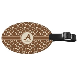 Giraffe Print Genuine Leather Oval Luggage Tag (Personalized)