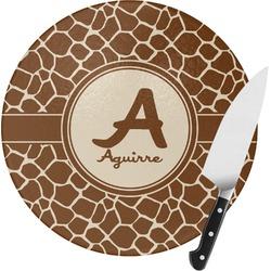 Giraffe Print Round Glass Cutting Board (Personalized)