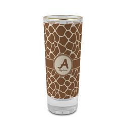 Giraffe Print 2 oz Shot Glass - Glass with Gold Rim (Personalized)