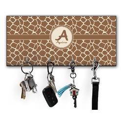 Giraffe Print Key Hanger w/ 4 Hooks w/ Name and Initial