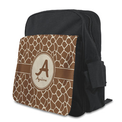 Giraffe Print Kid's Backpack with Customizable Flap (Personalized)