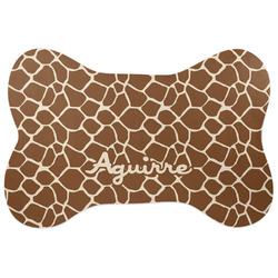Giraffe Print Bone Shaped Dog Food Mat (Personalized)