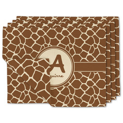 Giraffe Print Linen Placemat w/ Name and Initial