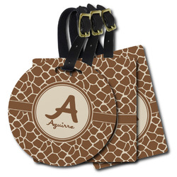 Giraffe Print Plastic Luggage Tags (Personalized)