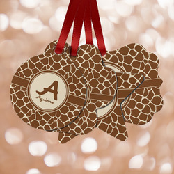 Giraffe Print Metal Ornaments - Double Sided w/ Name and Initial