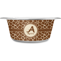 Giraffe Print Stainless Steel Pet Bowl (Personalized)