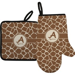 Giraffe Print Oven Mitt & Pot Holder (Personalized)