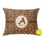 Giraffe Print Outdoor Throw Pillow (Rectangular) (Personalized)