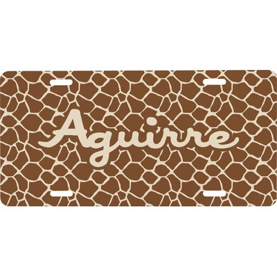 Giraffe Print Front License Plate (Personalized)