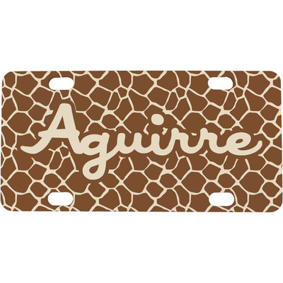 Giraffe Print Mini / Bicycle License Plate (Personalized)