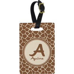 Giraffe Print Plastic Luggage Tag - Rectangular w/ Name and Initial