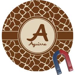 Giraffe Print Round Fridge Magnet (Personalized)