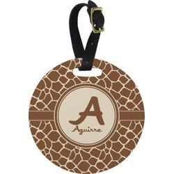 Giraffe Print Round Luggage Tag (Personalized)