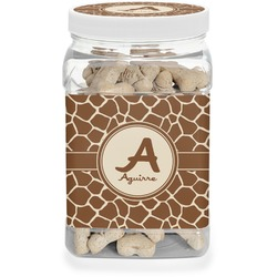 Giraffe Print Pet Treat Jar (Personalized)